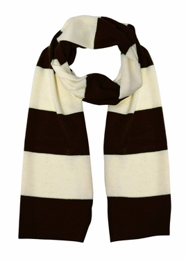 Cozy 100% Cashmere Soft and Warm Rugby Striped Scarf (Black/White )