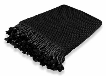 Luxurious Look and Feel Basketweave Authentic Cashmere Throw with Tassels (Black)