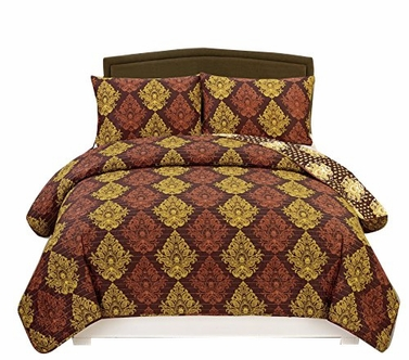 Luxurious Reversible Lightweight & Cozy All Seasons Damask Printed 3 Piece Quilt Set Miranda, Plum