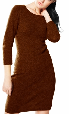 Luxurious Warm and Soft 100% Cashmere Bodycon Sweater Dress (Chocolate)