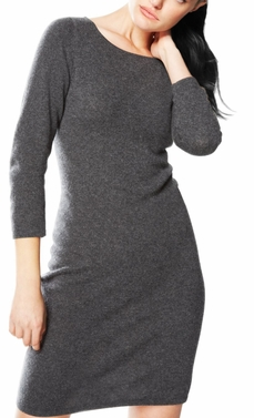 Luxurious Warm and Soft 100% Cashmere Bodycon Sweater Dress (Grey)