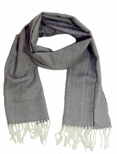 Soft and Warm  Cashmere Feel Unisex Scarves (Gray White)