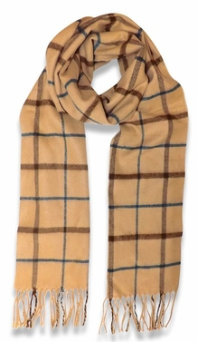 Soft and Warm  Cashmere Feel Unisex Scarves (Plaid Tan/Brown)
