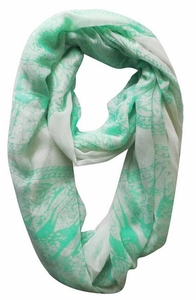 Luxury Deer Medallion Infinity Loop Scarf (Mint)
