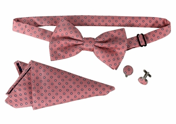 Men's Pre Tied Bow Tie Pocket Square Handkercheif Set Polka Dot Coral