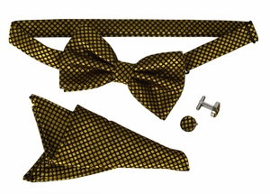 Men's Pre Tied Bow Tie Pocket Square Handkercheif Set Polka Dot Gold