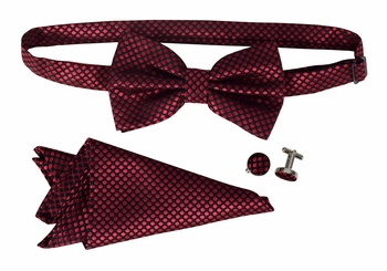 Men's Pre Tied Bow Tie Pocket Square Handkercheif Set Polka Dot Maroon