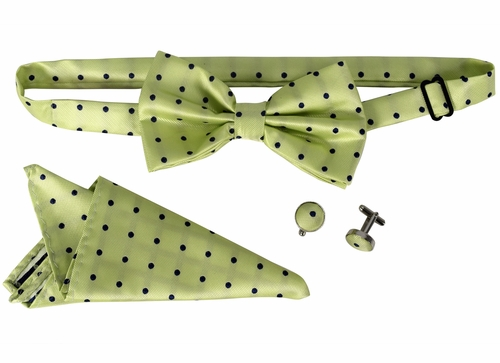 Men's Pre Tied Bow Tie Pocket Square Handkercheif Set Polka Dot Mint
