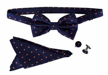 Men's Pre Tied Bow Tie Pocket Square Handkercheif Set Polka Dot Navy Orange
