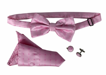 Men's Pre Tied Bow Tie Pocket Square Handkercheif Set Polka Dot Pink