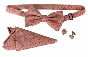 Men's Pre Tied Bow Tie Pocket Square Handkercheif Set Polka Dot Salmon
