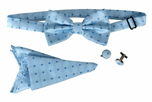 Men's Pre Tied Bow Tie Pocket Square Handkercheif Set Polka Dot Sky Blue