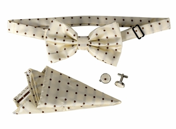 Men's Pre Tied Bow Tie Pocket Square Handkercheif Set Polka Dot Tan