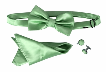 Men's Pre Tied Bow Tie Pocket Square Handkercheif Set Solid Aqua