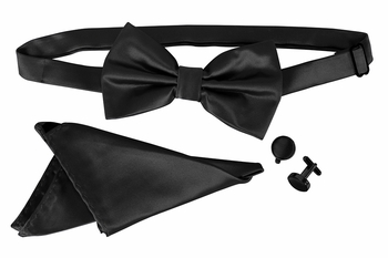 Men's Pre Tied Bow Tie Pocket Square Handkercheif Set Solid Black