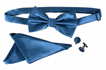 Men's Pre Tied Bow Tie Pocket Square Handkercheif Set Solid Blue