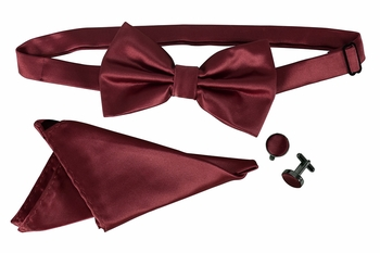 Men's Pre Tied Bow Tie Pocket Square Handkercheif Set Solid Maroon