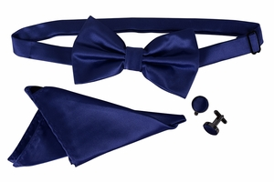 Men's Pre Tied Bow Tie Pocket Square Handkercheif Set Solid Navy
