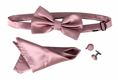 Men's Pre Tied Bow Tie Pocket Square Handkercheif Set Solid Pink