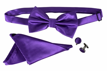 Men's Pre Tied Bow Tie Pocket Square Handkercheif Set Solid Purple