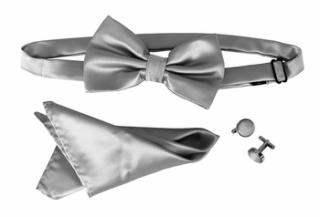 Men's Pre Tied Bow Tie Pocket Square Handkercheif Set Solid Silver