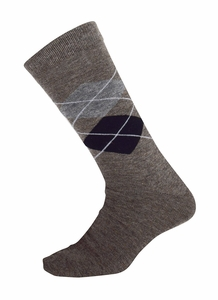 Men's Soft and Warm Comfortable Long Argyle Cashmere Socks (Brown)