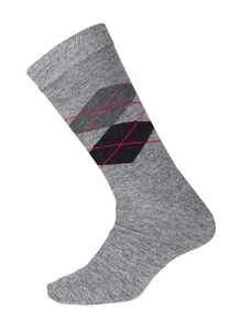 Men's Soft and Warm Comfortable Long Argyle Cashmere Socks (Grey)