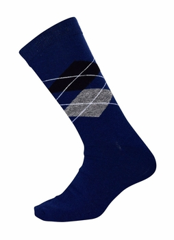 Men�s Soft and Warm Comfortable Long Argyle Cashmere Socks (Navy)