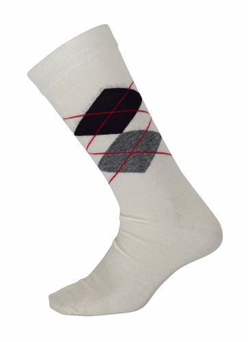 Men's Soft and Warm Comfortable Long Argyle Cashmere Socks (Off White)