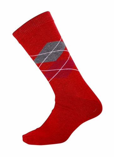 Men`s Soft and Warm Comfortable Long Argyle Cashmere Socks (Red)