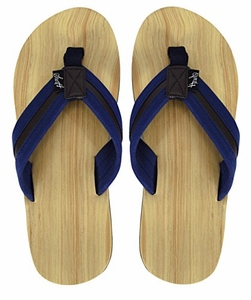 Mens Beach Flip Flops Faux Wood Textured Strappy Slip On Beach Sandals (More Colors)
