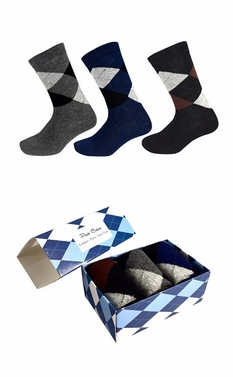 Mens Classic Cotton Crew Argyle Socks in a Box 3 Pack Black Dark Grey Navy