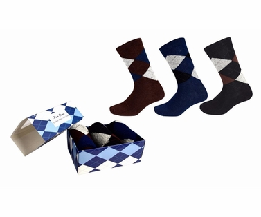 Mens Classic Cotton Crew Argyle Socks in a Box 3 Pack Brown Black Navy