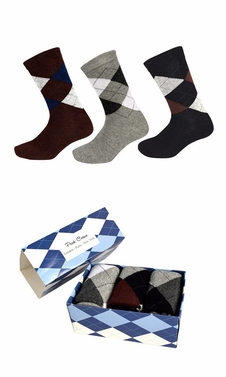 Mens Classic Cotton Crew Argyle Socks in a Box 3 Pack Brown Light Grey Black