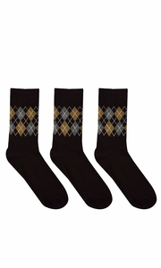Mens Colorful Argyle 3 and 6 Pack Stretch Variety Socks 6-12 Shoe Size 3 Pack Black