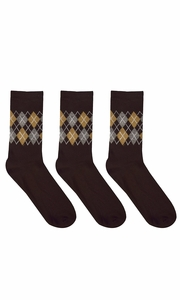 Mens Colorful Argyle 3 and 6 Pack Stretch Variety Socks 6-12 Shoe Size 3 Pack Brown