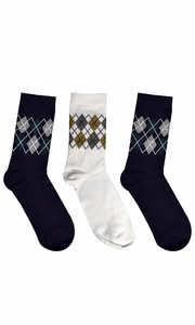 Mens Colorful Argyle 3 and 6 Pack Stretch Variety Socks 6-12 Shoe Size 3 Pack White Black Grey