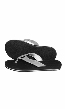 Mens Flip Flop Synthetic Suede Stappy Beach Flats Sandals Black Silver