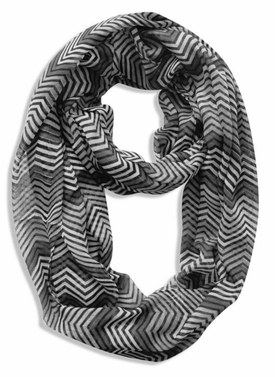 Modern Radiant Multicolored Chevron Geometric Infinity Loop Scarf (Black, Grey, White)