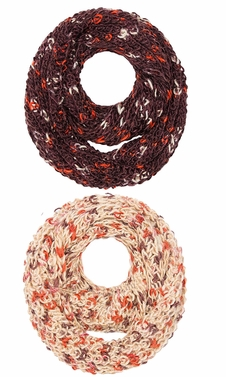 Multi Color Hand Knit Thick Chunky Infinity loop Scarves for extreme warmth Beige Brown