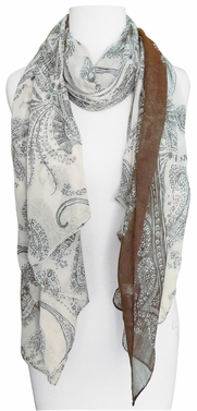 Multi Color Paisley Print Vintage Chic Sarong Scarf (Brown/Ivory)