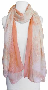 Multi Color Paisley Print Vintage Chic Sarong Scarf (Peach/Ivory)