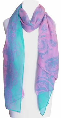 Multi Color Paisley Print Vintage Chic Sarong Scarf (Pink/Teal)
