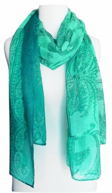 Multi Color Paisley Print Vintage Chic Sarong Scarf (Turquoise/Teal)