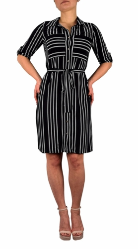 Multi Pattern Button V Neck Shift Dress 3/4 Sleeves (Black and White)