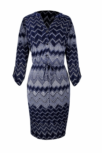 Multi Pattern Button V Neck Shift Dress 3/4 Sleeves (Blue)