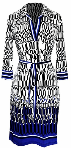 Multi Pattern V Neck Shift ¾ Sleeve Waist Tie Shift Dress (Blue Tangram)