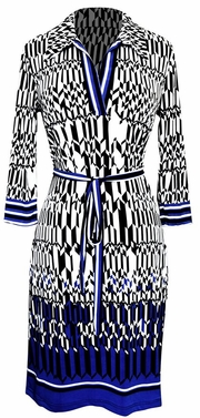 Multi Pattern V Neck Shift � Sleeve Waist Tie Shift Dress (Blue Tangram)