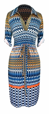 Multi Pattern V Neck Shift � Sleeve Waist Tie Shift Dress (Teal Orange)
