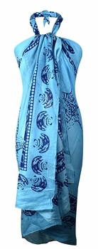 Multi Purpose Hawaiian Scarves Pareo Beach Wraps Sarongs Blue Shells